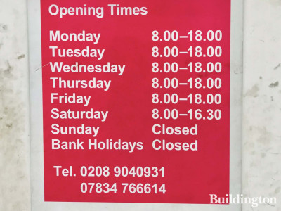 Office hours for the Car Clinic on Peel Road in North Wembley.