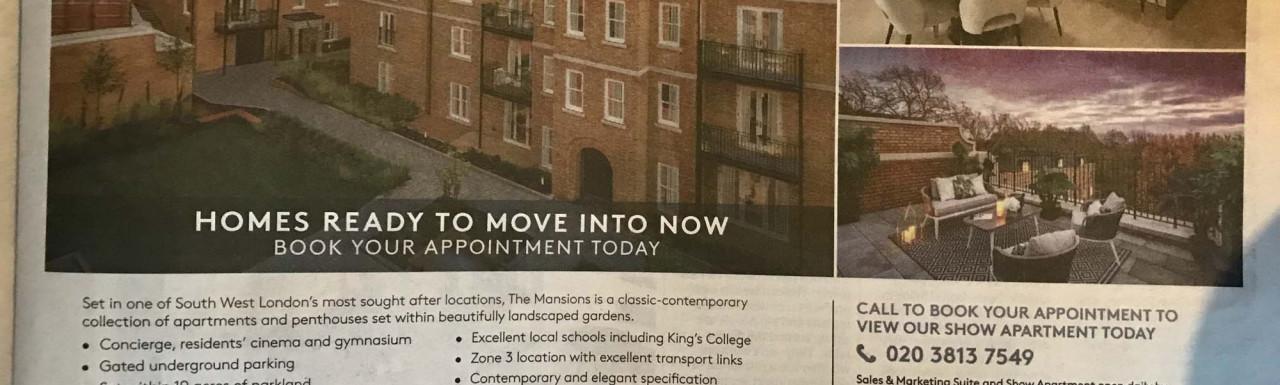 Wimbledon Hill Park development advertisement in The Sunday Times.
