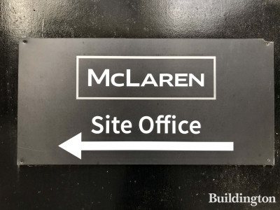 Contractor McLaren site office sign on the hoarding at 101 on Cleveland development.