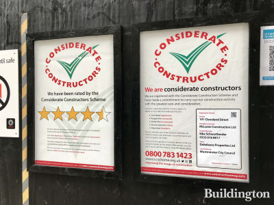 Considerate Constructors Scheme posters at 101 on Cleveland development site.