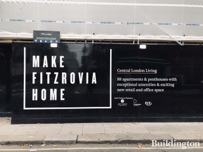 Make Fitzrovia Home - hoarding at Dukelease's 101 on Cleveland development.