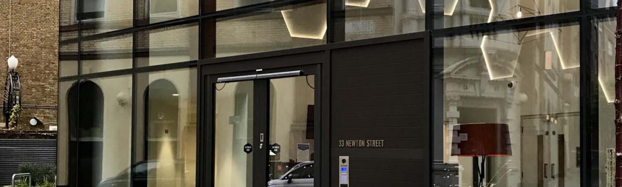 Entrance to Hexagon Apartments at 33 Newton Street.
