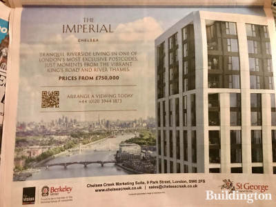 The Imperial at Chelsea Creek advertisement in Financial Times newspaper.