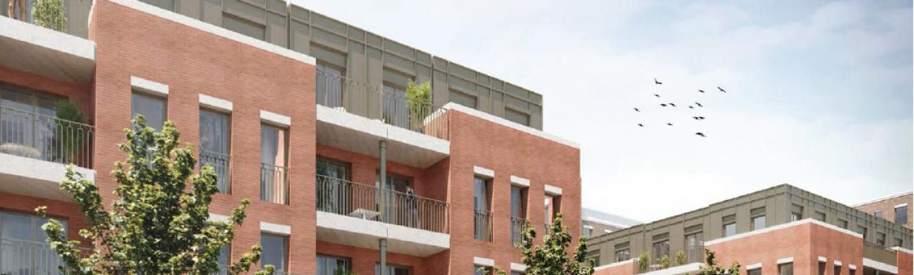 CGI of Avanton: Richmond development. New build flats above retail space on the street level.