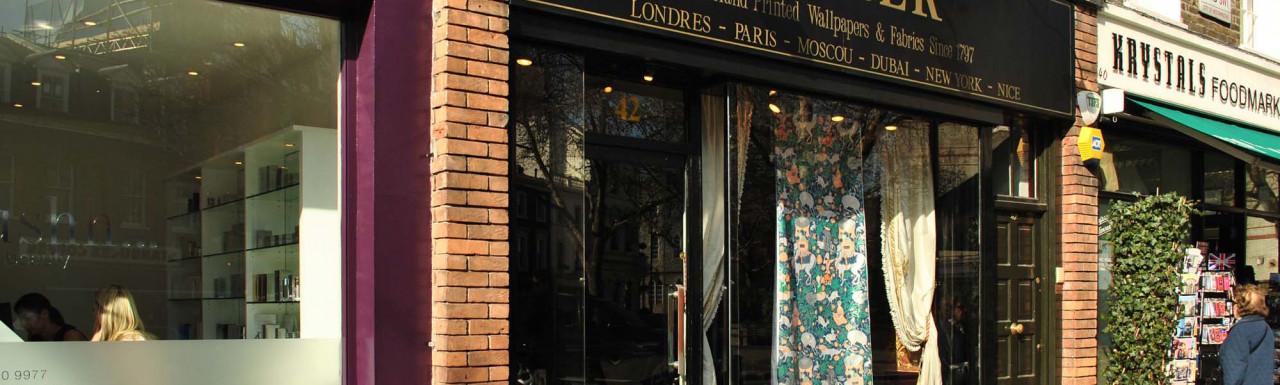Hushh Spa & Beauty at No. 44, Zuber handprinted wallpaper and fabrics at No. 42 and Krystals foodmarket at No. 40 Pimlico Road in 2012.