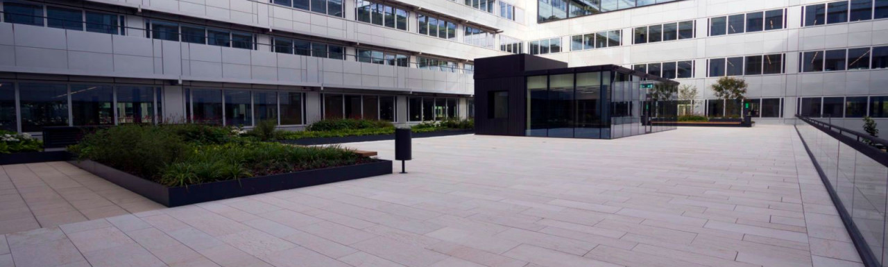 White City Place development courtyard in 2017. Adjustable pedestals by Buzon.