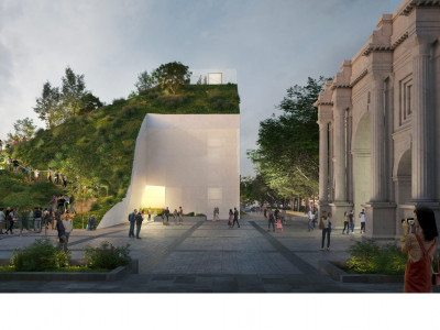 CGI of the Marble Arch Hill next to Marble Arch designed by MVRDV.