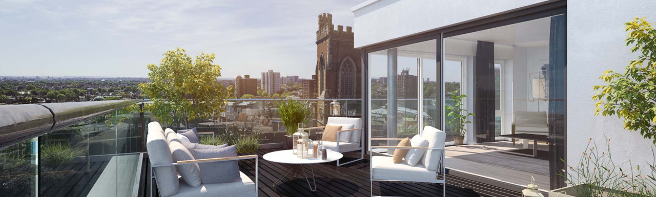 Balcony at King's Court development in Acton Town, London W3.