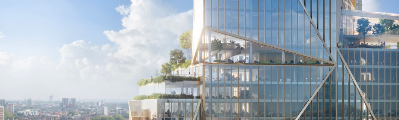 West terrace at one of the 2 Finsbury Avenue towers designed by 3XN.