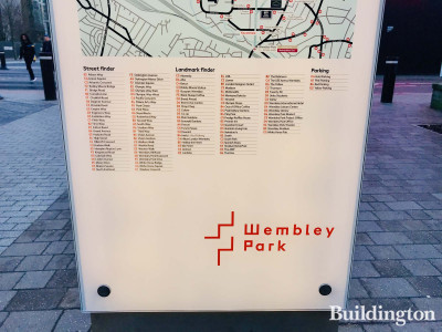 Wayfinding sign at Wembley Park.