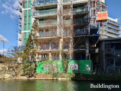 Minavil House construction site from the Grand Union Canal.