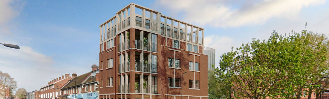CGI of the the red-brick and glass development planned for 20 Albion Street in Rotherhithe, London SE16. The development opportunity comprises eight apartments above a wine bar or a pub.