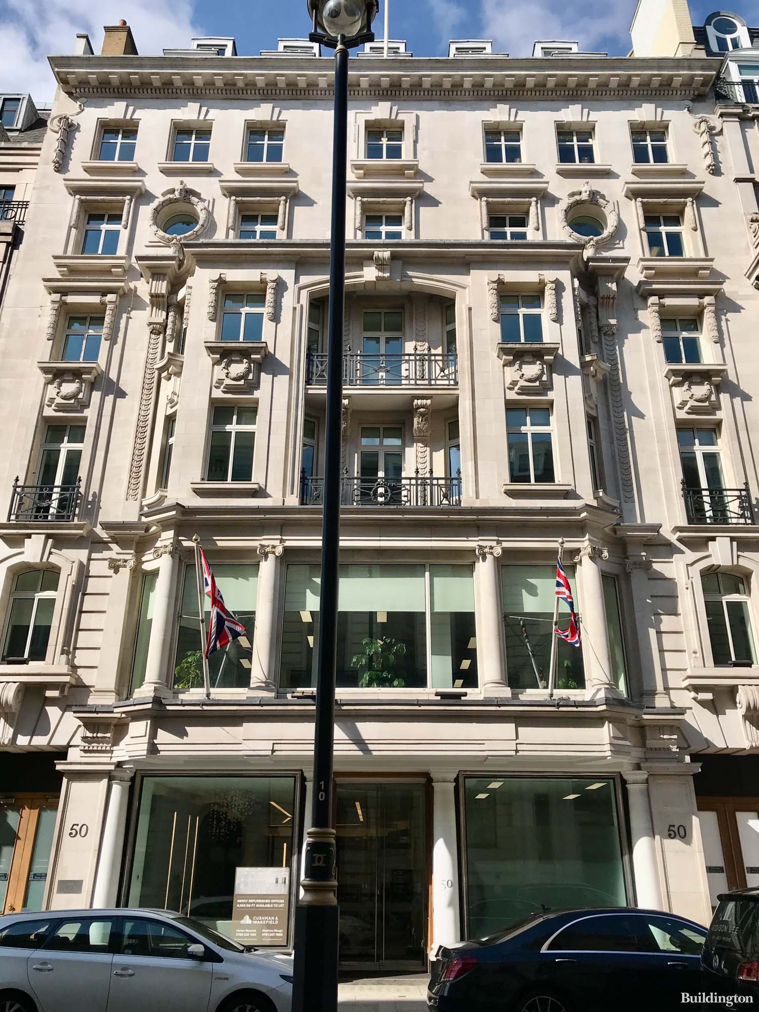 Office windows at 50 Pall Mall building in St James's, London SW1.