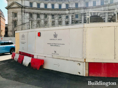 Admiralty Arch development logo on the hoarding. View from Spring Gardens.