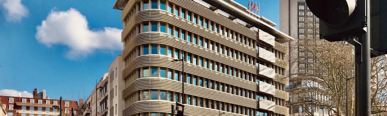 45 Park Lane building on the corner of Stanhope Gate in Mayfair, London W1.