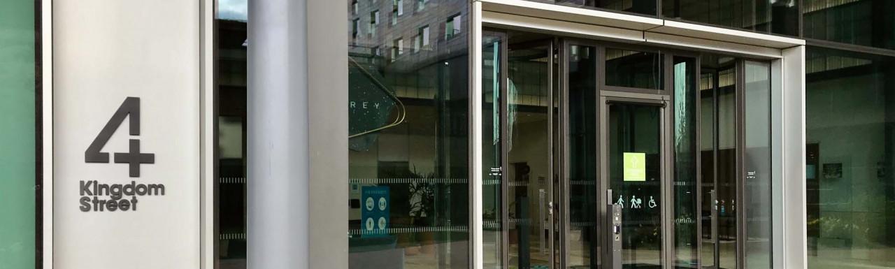 Entrance to 4 Kingdom Street office building on Kingdom Street in Paddington Central.