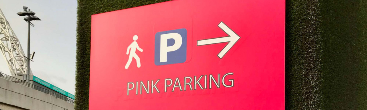 Pink Parking sign on First Way next to Wembley Stadium.