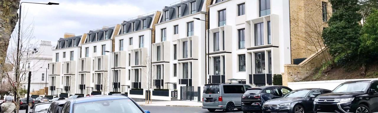 Eighty Holland Park development comprises five villas that contain 25 homes designed by Lifschutz Davidson Sandilands. Here in spring 2021.