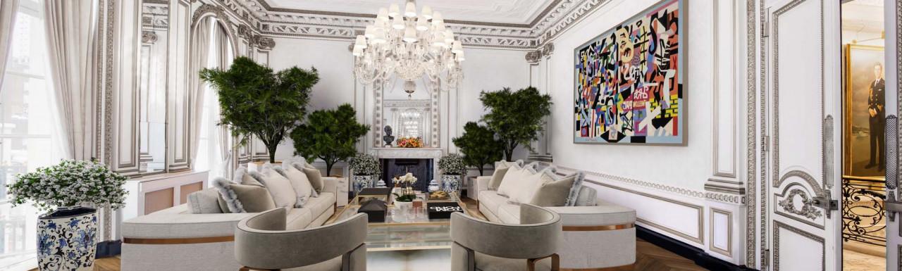 CGI of the planned new interior for Louis XVI Salon at 38 Hill Street designed by Casa E Progetti