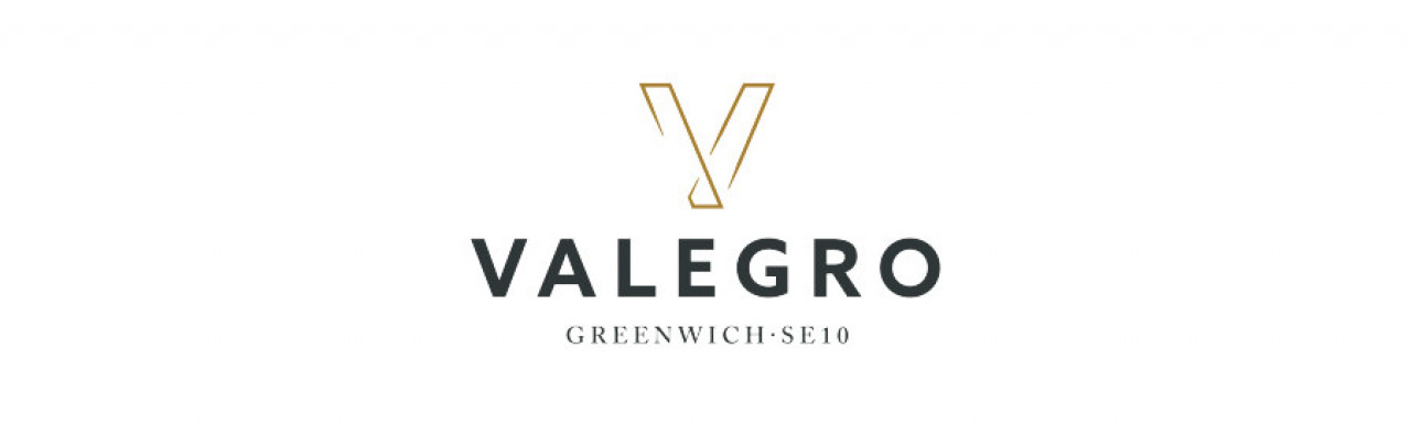 Valegro development logo; new apartments from Purelake in Greenwich, London SE10.
