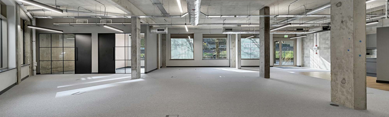 Unit A commercial space available at Bagel Factory development's West building. Location: Hackney Wick, London E9.