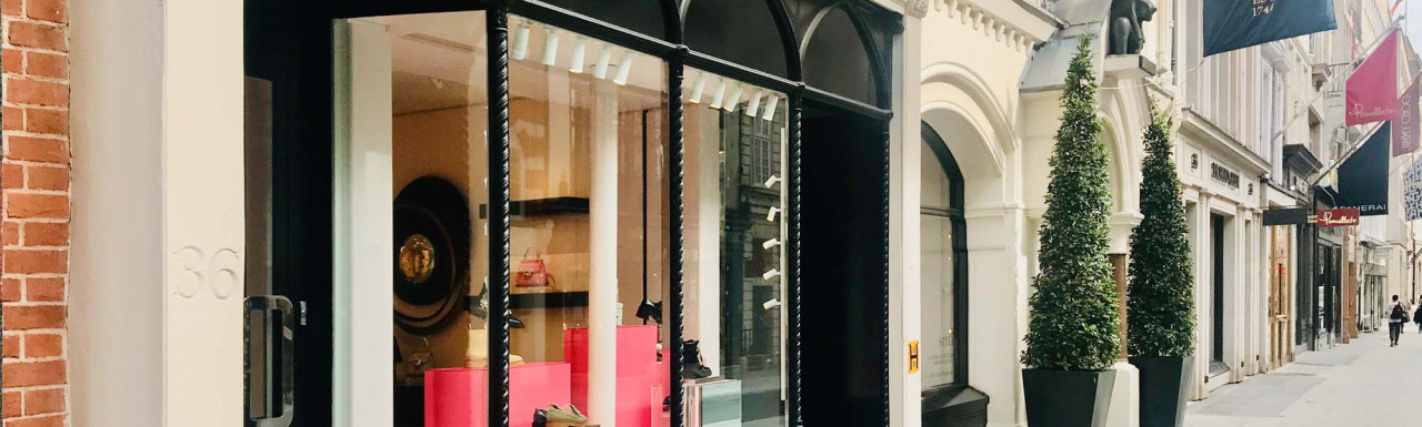 Roger Vivier store window at 36 New Bond Street in Mayfair, London W1.