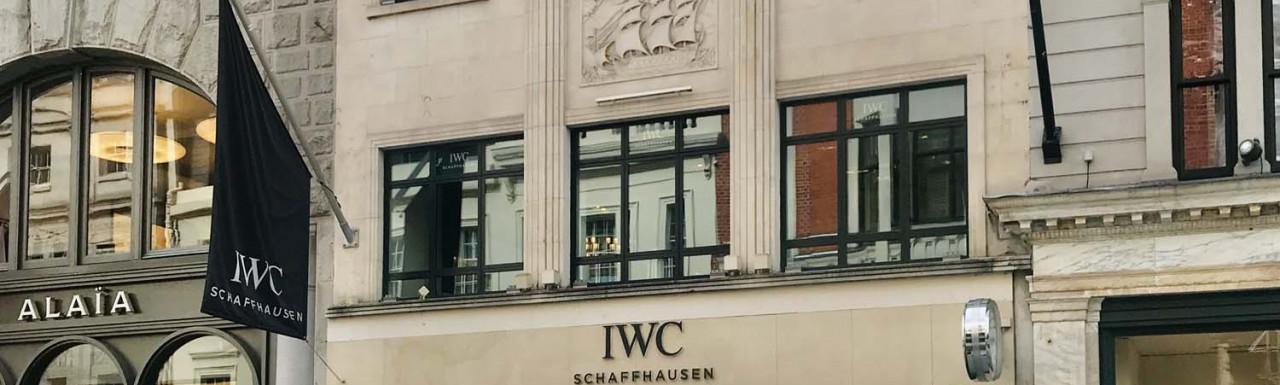 IWC Schaffhausen store at 138 New Bond Street in Mayfair, London W1.