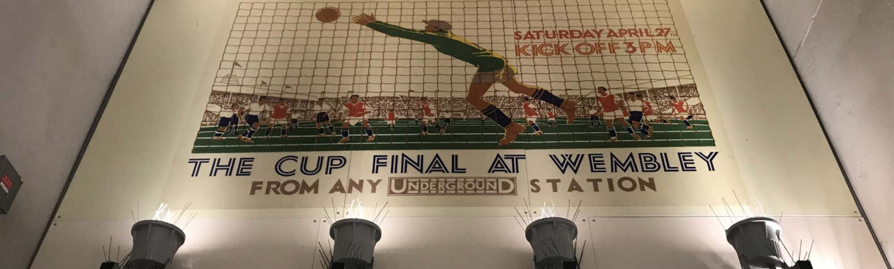 The Cup Final at Wembley mural on the wall at Wembley Central Underground Station.