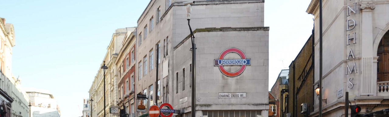 Leicester Square Underground Station building on Cranbourn Street from Charing Cross Road in London WC2.