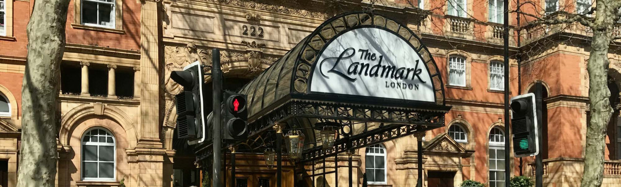 The Landmark London hotel building entrance on Marylebone Road in London NW1.