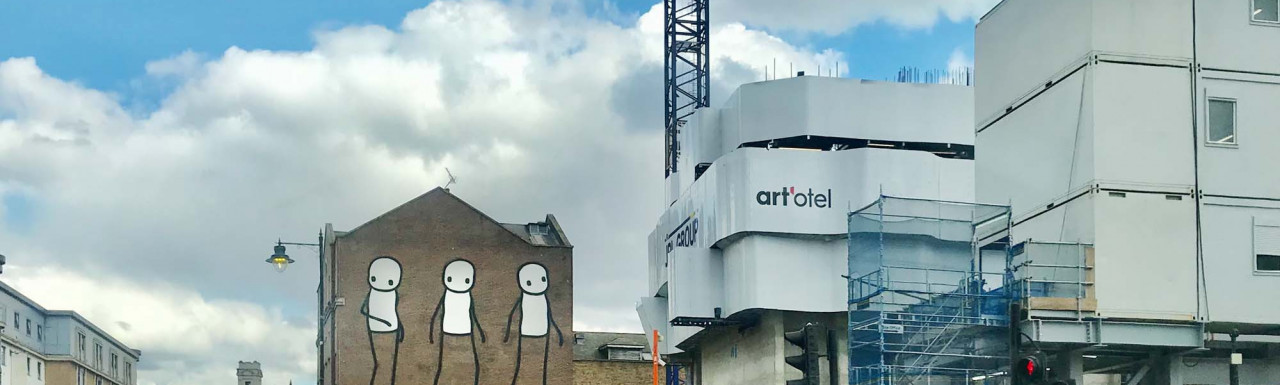 art'otel under construction in spring 2021. View from Old Street.