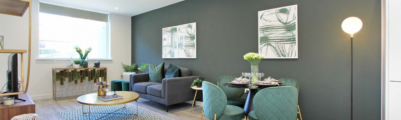 Living room in the new build home at Teulon House in Greenwich, London SE10.