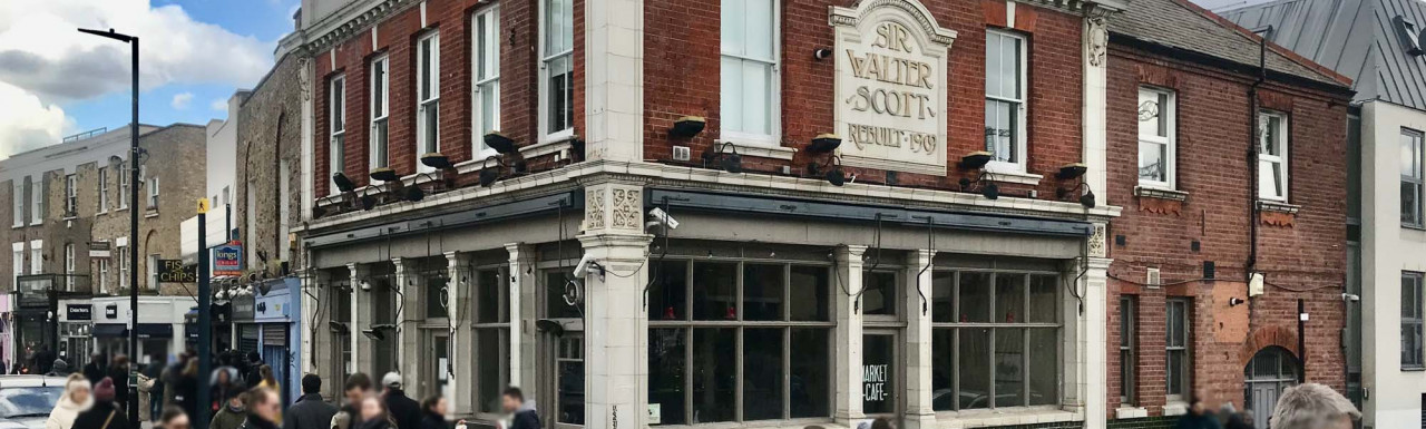 Former Sir Walter Scott pub on the corner of Broadway Market and Andrews Road in London E8.