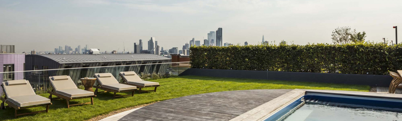 Every penthouse at Islington Square comes with a private rooftop garden with an endless swimming pool and incredible views over London.