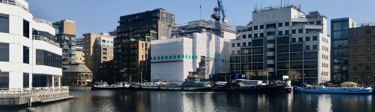 Dock East under construction on Millwall Outer Dock in spring 2021.