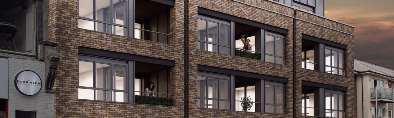 Park Place development opposite Victoria Park comprises 41 modern studio, one and two bedroom apartments above retail space.