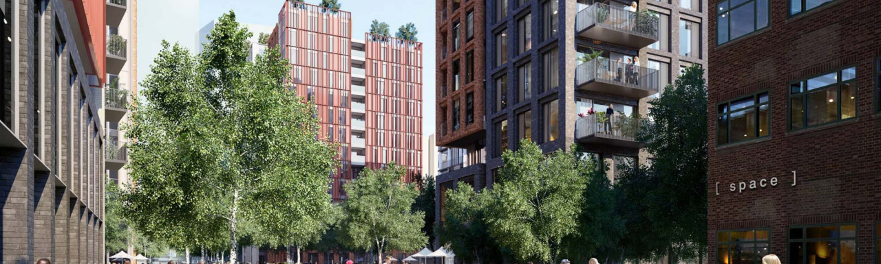 CGI 304-314 Lynton Road development designed by Alan Camp Architects in South Bermondsey. Featherstone Homes is building 19 new build homes here.