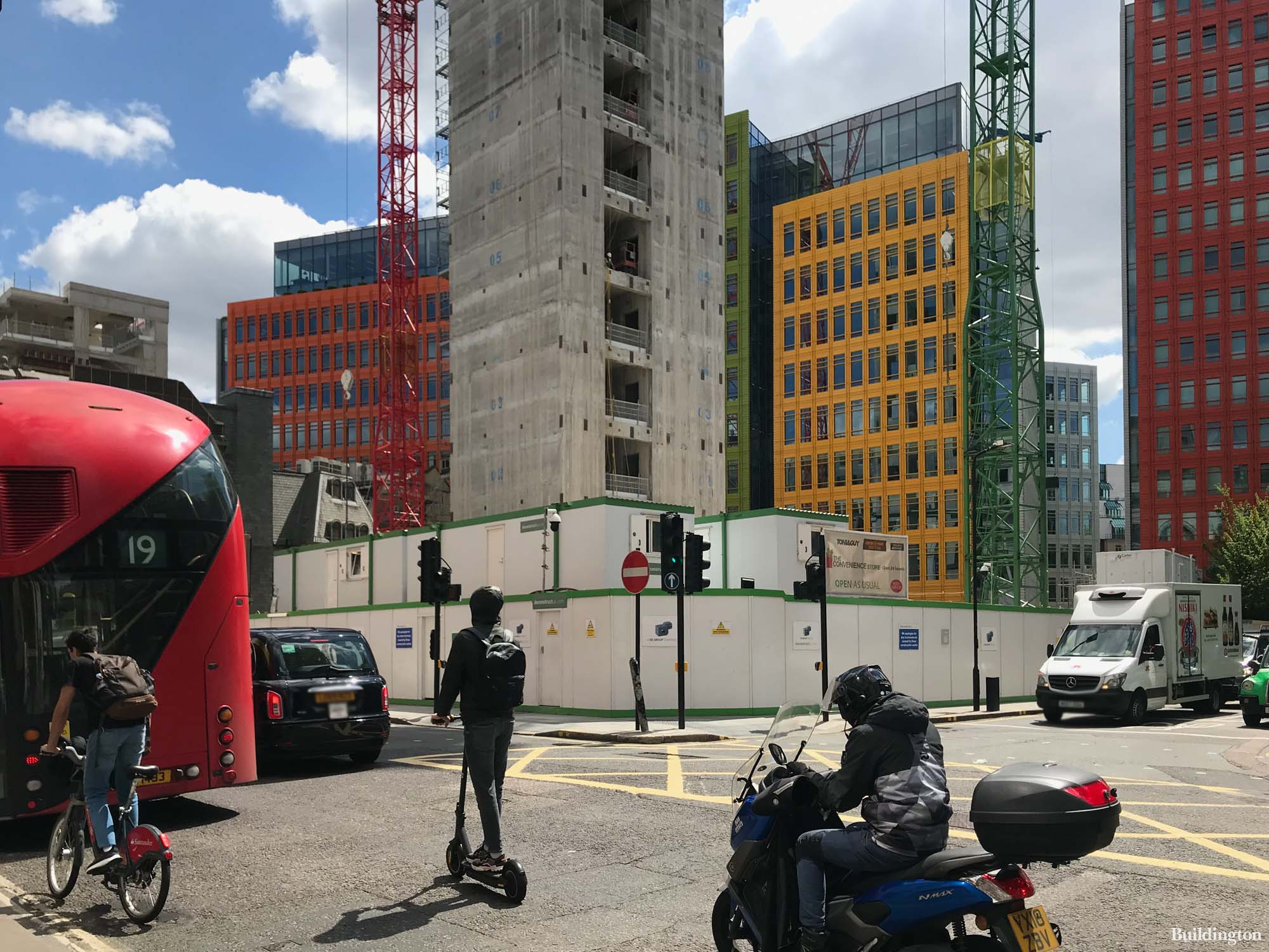 Earnshaw Building under construction. View from New Oxford street.