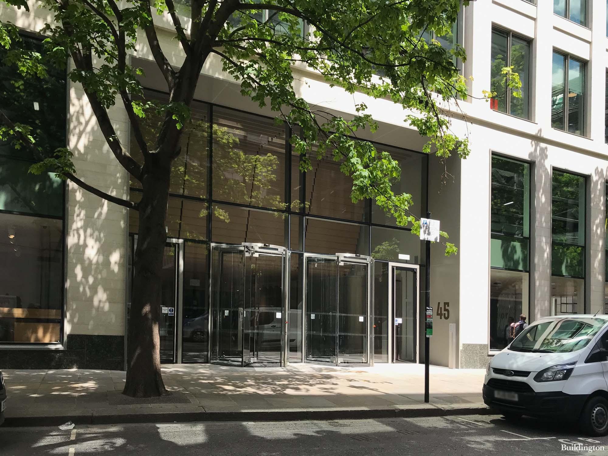 The main entrance to Gresham St Paul's at 45 Gresham Street in the City of London EC2.