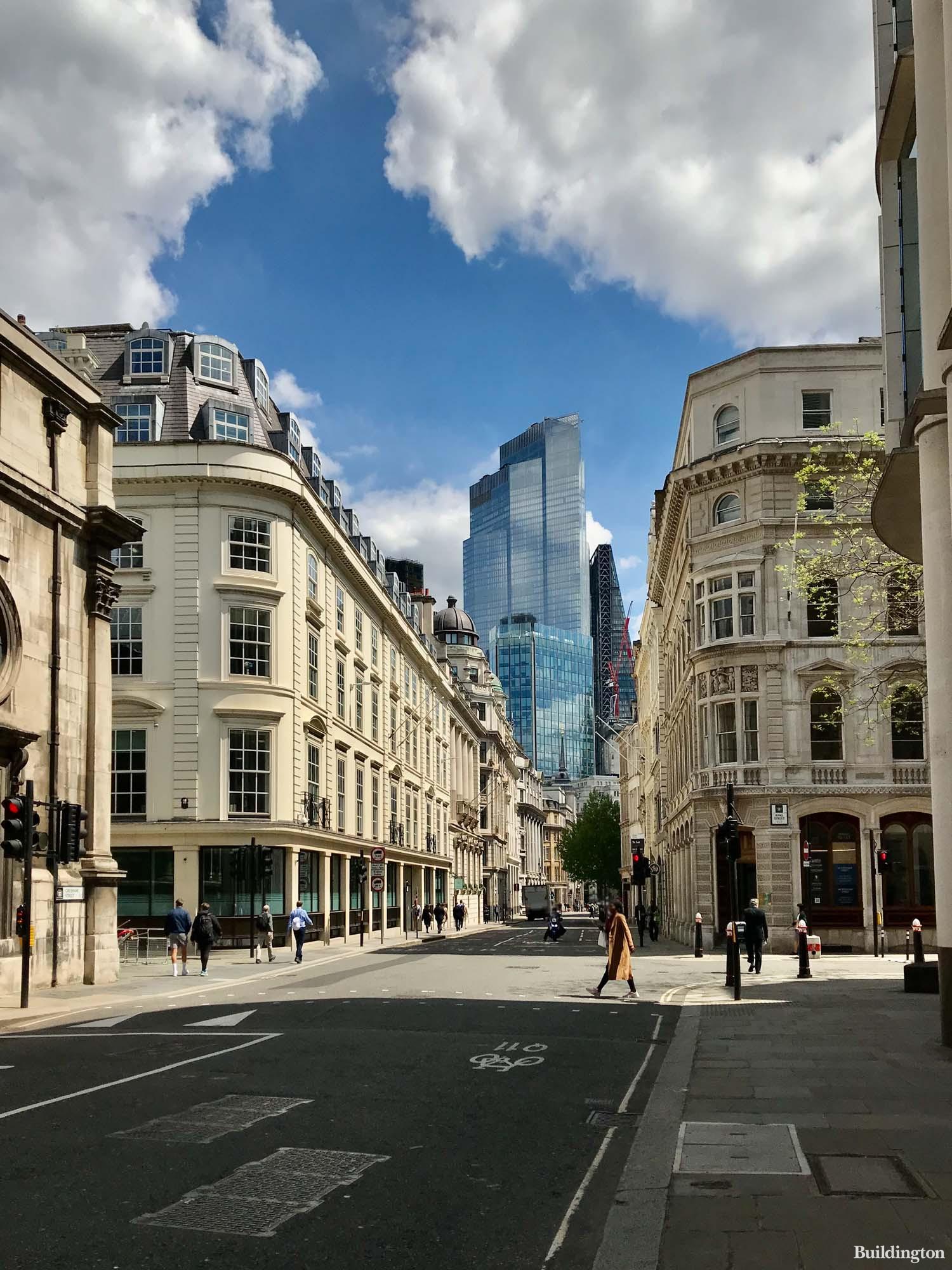 85 Gresham Street building oppositte 20 King Street in the City of London EC2. 22 Bishopsgate in the background.