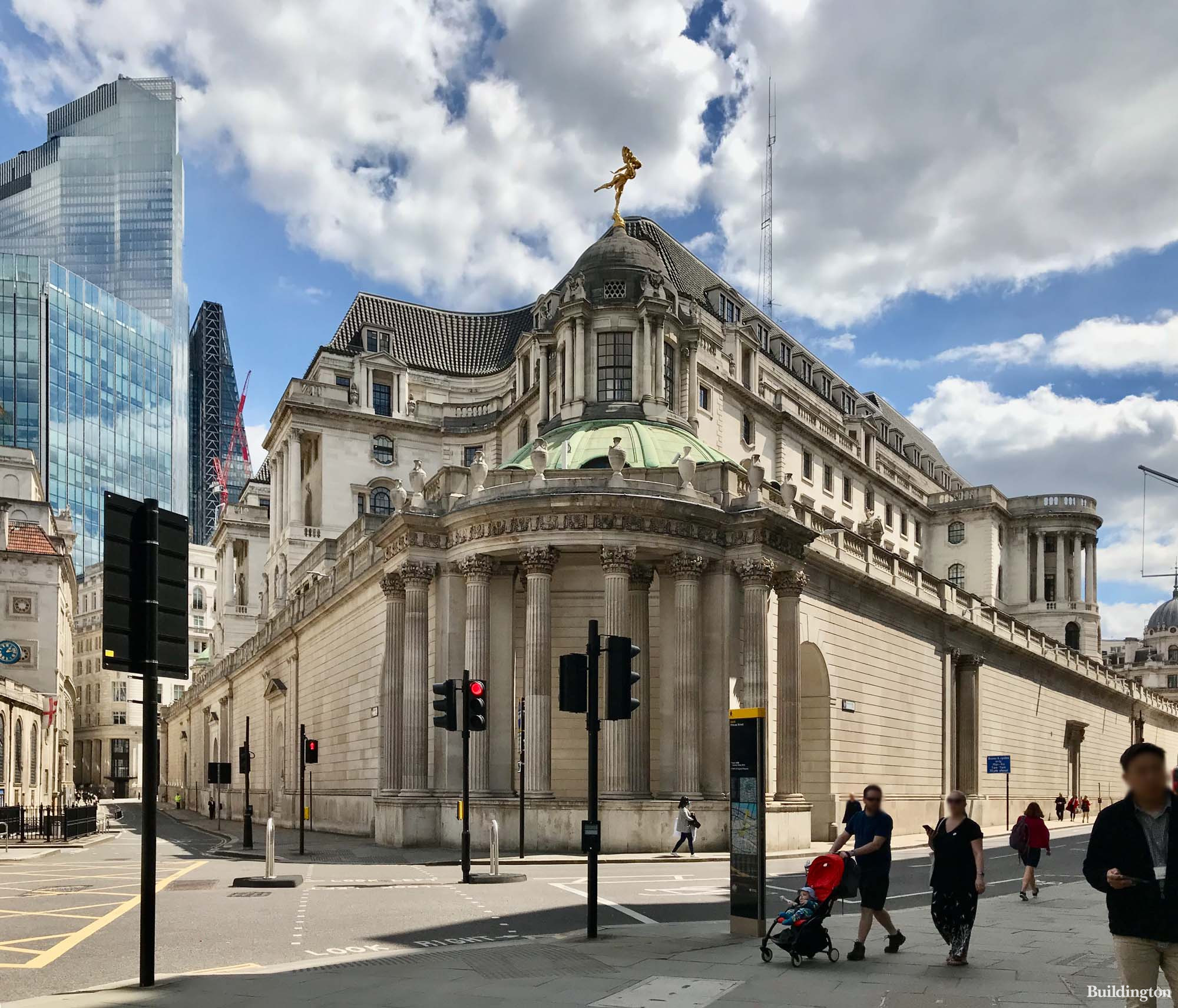 Bank of England building on the corner of Lothbury and Princes Street in the City of London EC2.