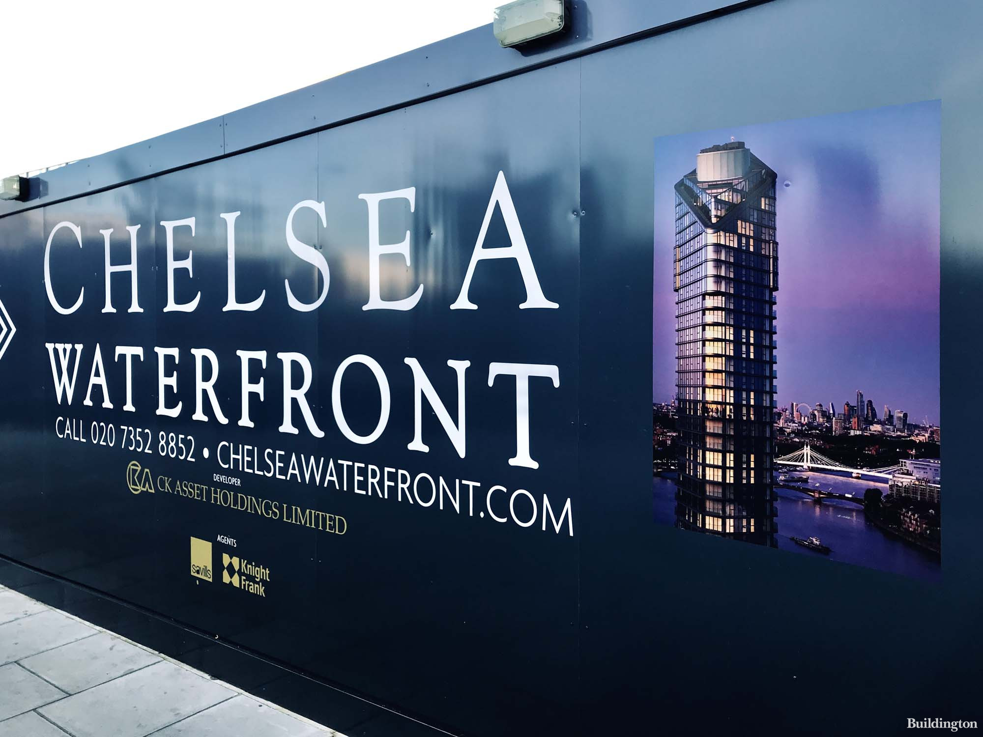 Chelsea Waterfront hoarding. CK Asset Holdings Limited with Savills and Knight Frank.
