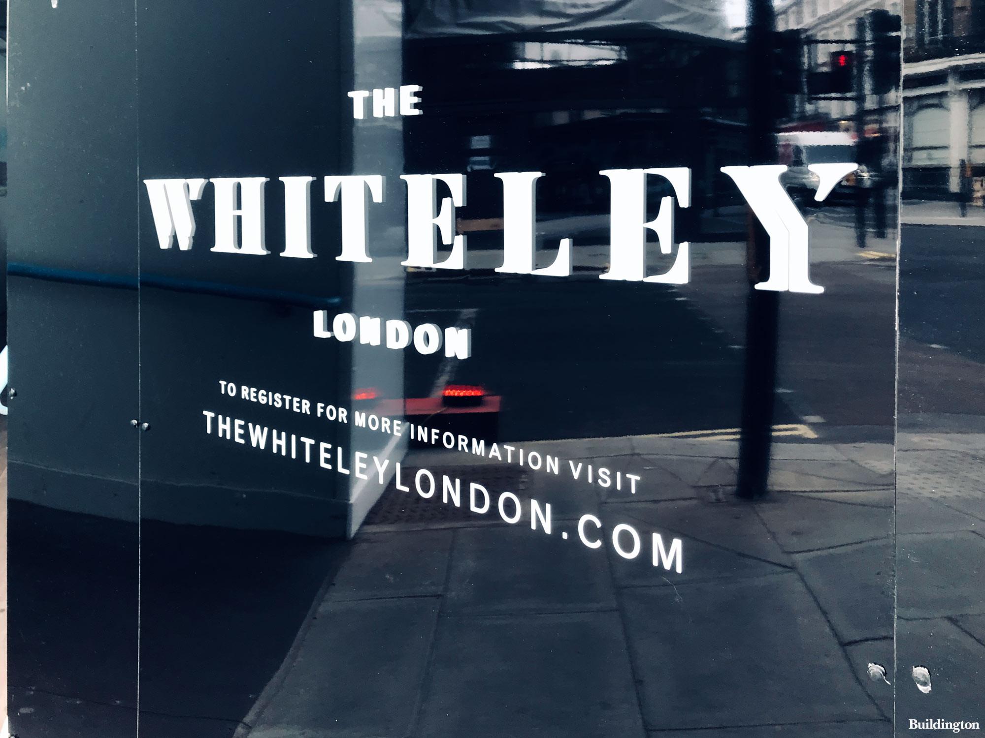 The Whiteley development hoarding in April 2021.