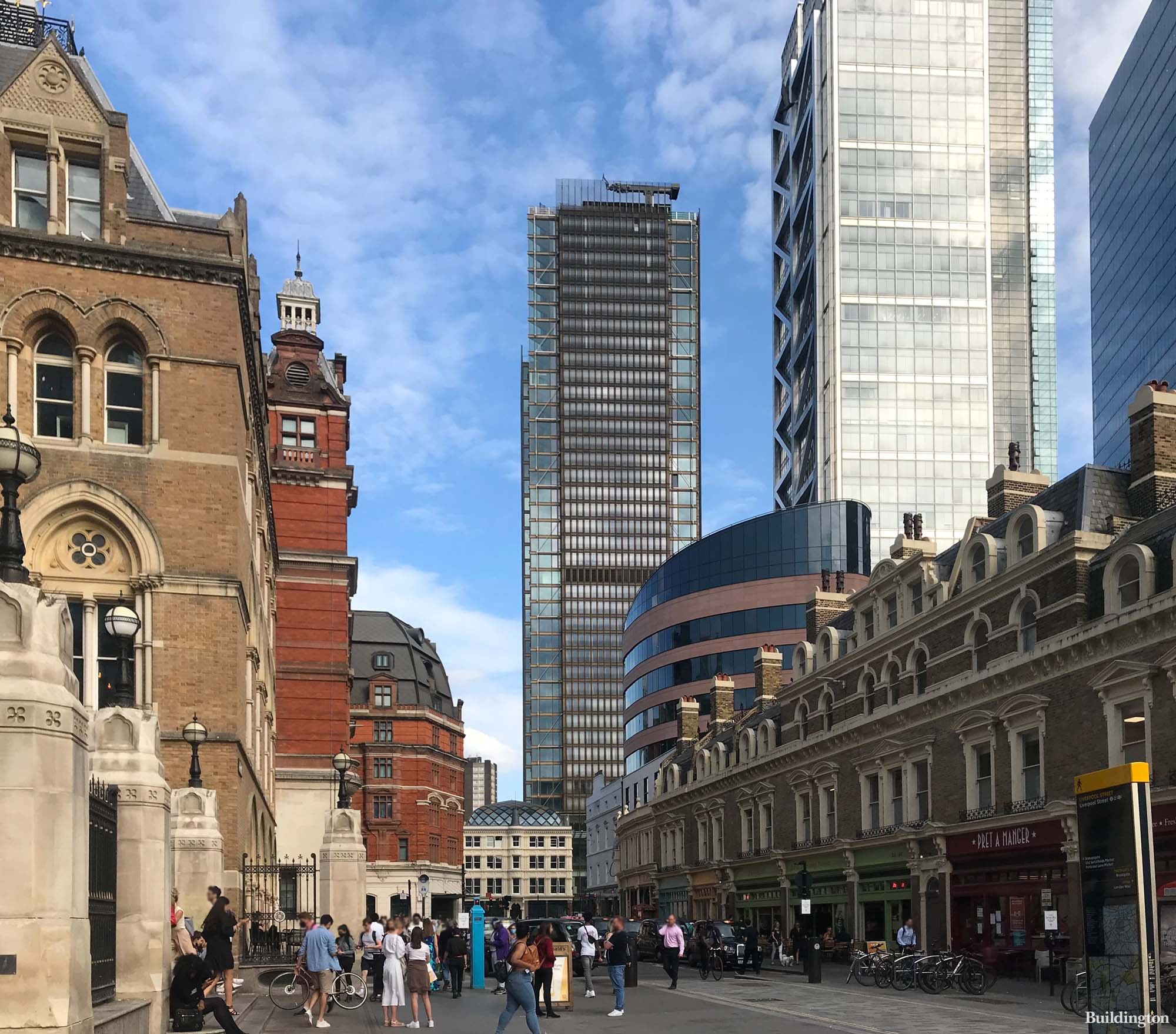 Bishopsgate Plaza has reached practical completion. View from Liverpool Street in front of the station.