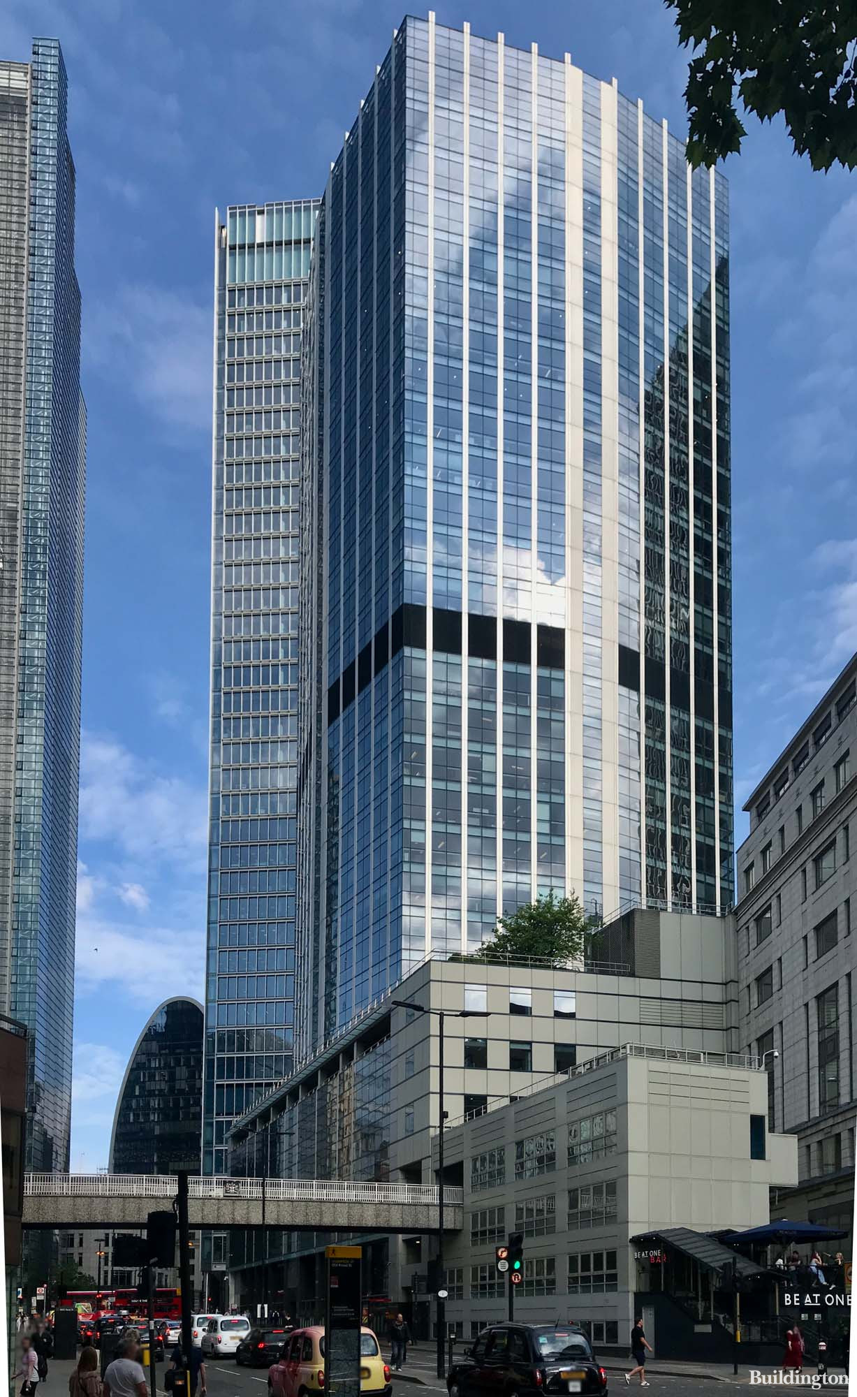 View to 99 Bishopsgate from London Wall in the City EC2.