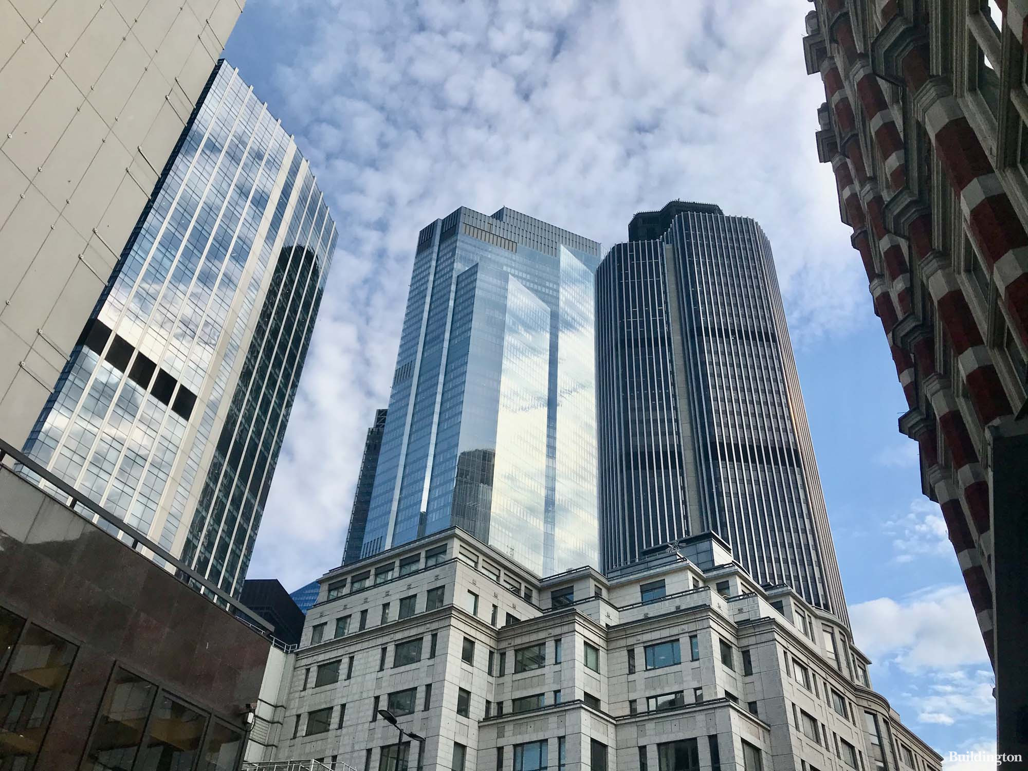 99 Bishopsgate, 22 Bishopsgate and Tower 42 from Old Broad Street in the City of London EC2.