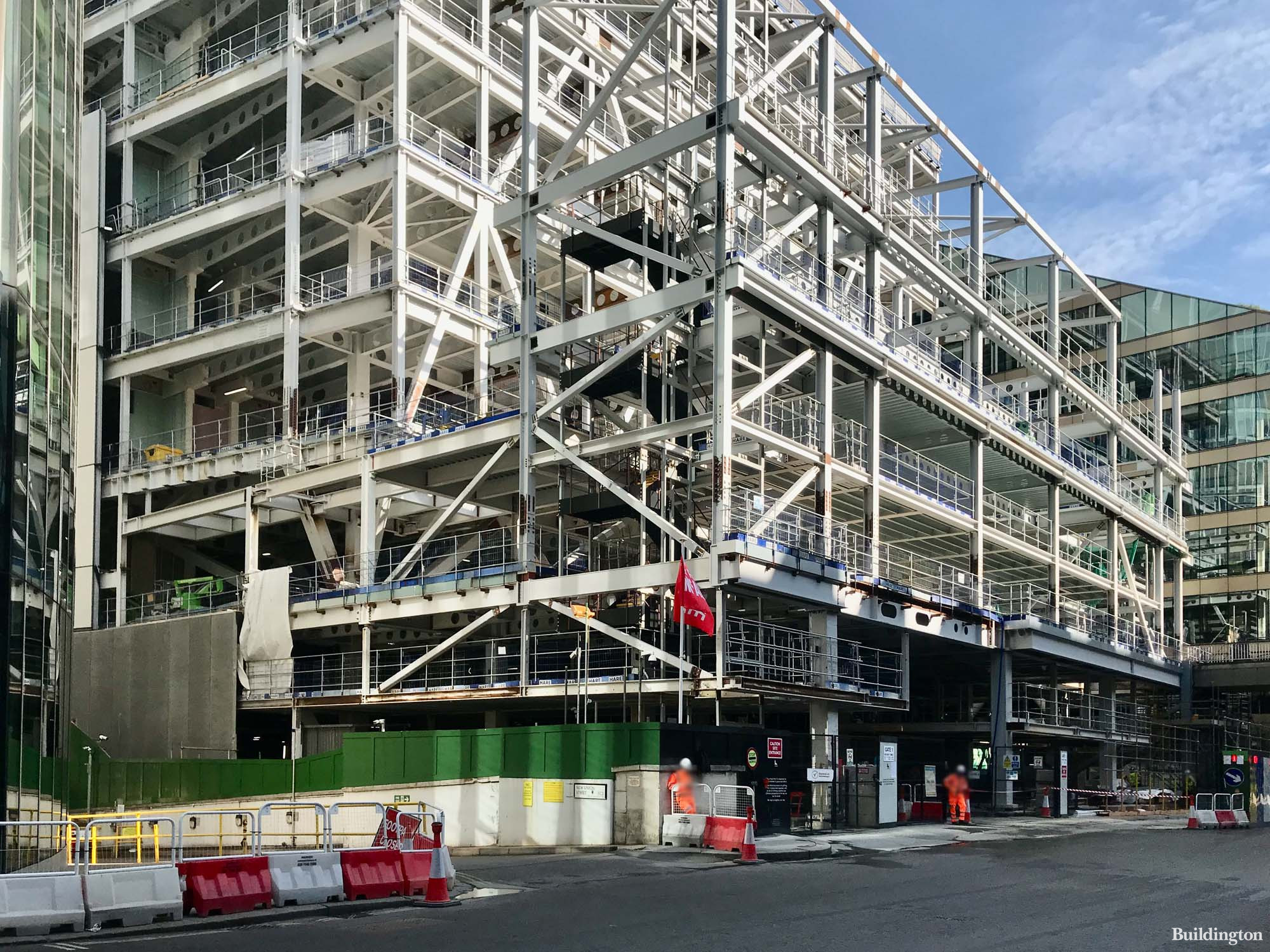 21 Moorfields office building designed by Wilkinson Eyre Architects under construction in the City of London EC2.