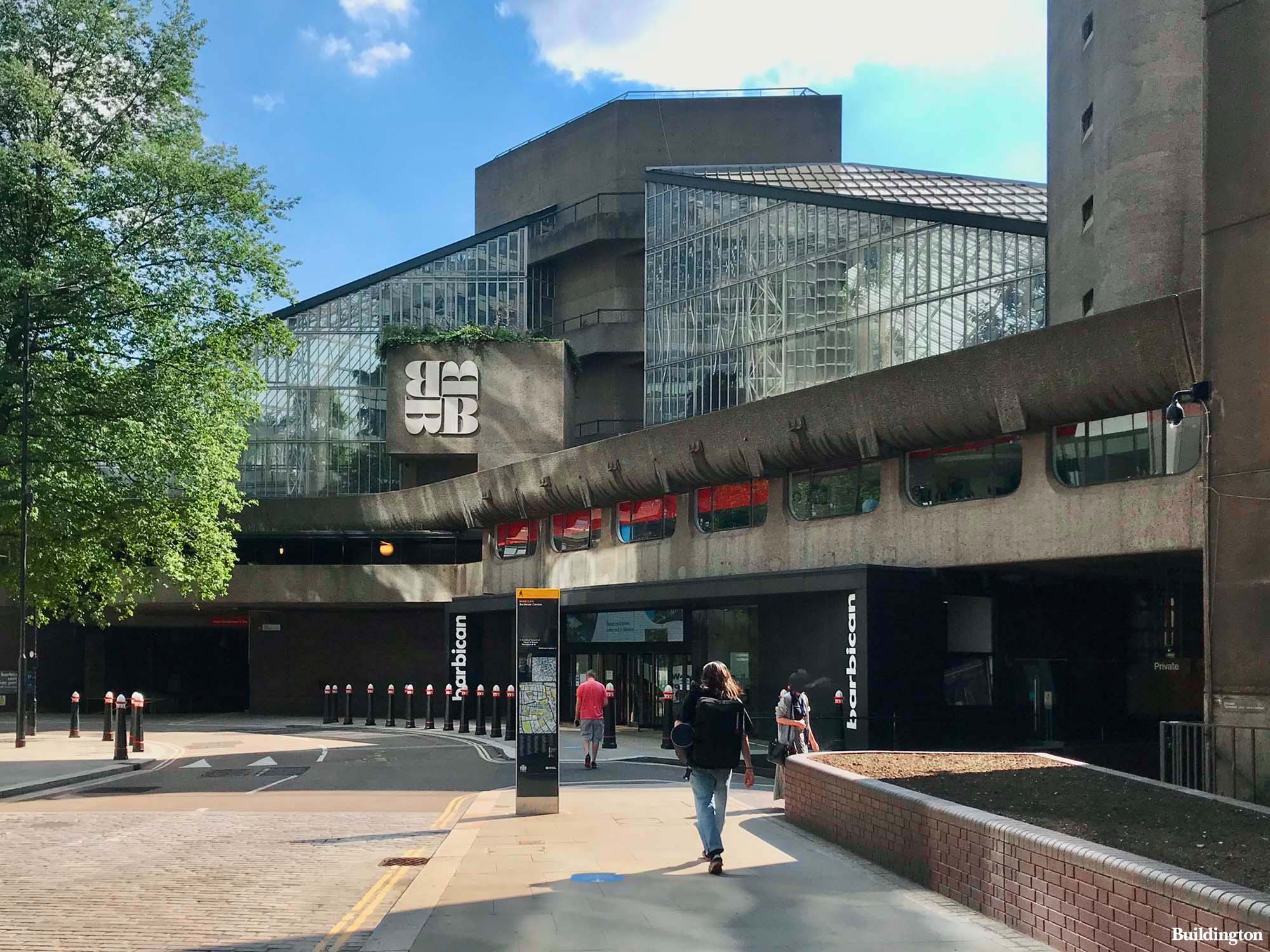 The main entrance to Barbican Centre on Silk Street in the City of London EC2.