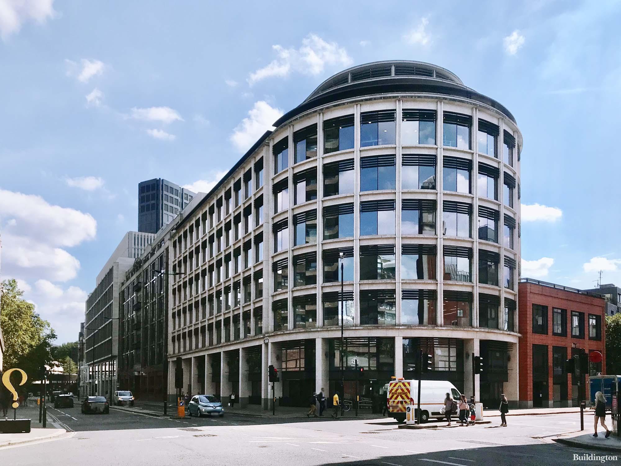 140 Aldersgate Street building designed by Sidell Architects. On the corner of Aldersgate Street and Long Lane.