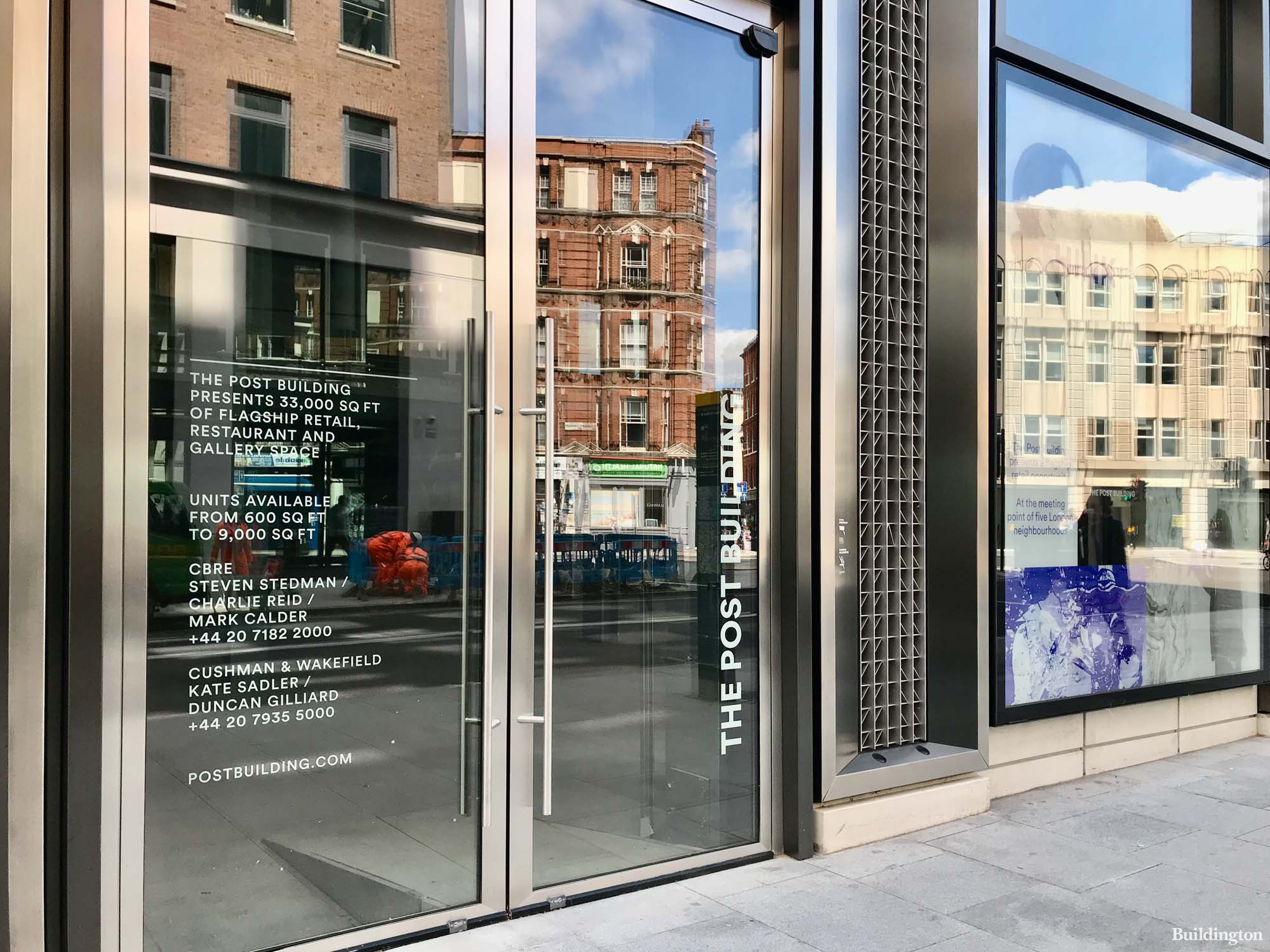 Commercial units available at The Post Building advertised by Cushman & Wakefield and CBRE.
